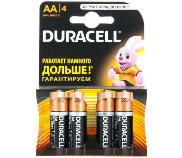 Батарейка щелочные Duracell LR6-4BL (4/80/18240)