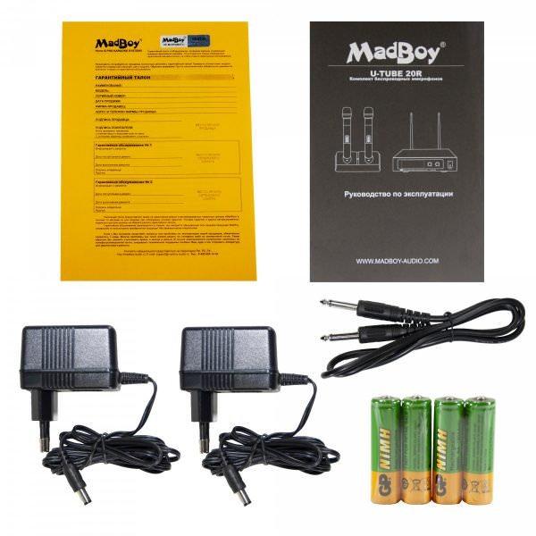 Madboy U-TUBE 20R база с двумя беспроводными перезаряжаемыми микрофонами