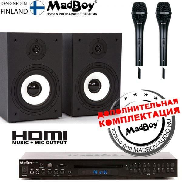 Madboy® Домашний-10 — комплект для караоке (для помещения 20м2) + 5 масок знаменитостей
