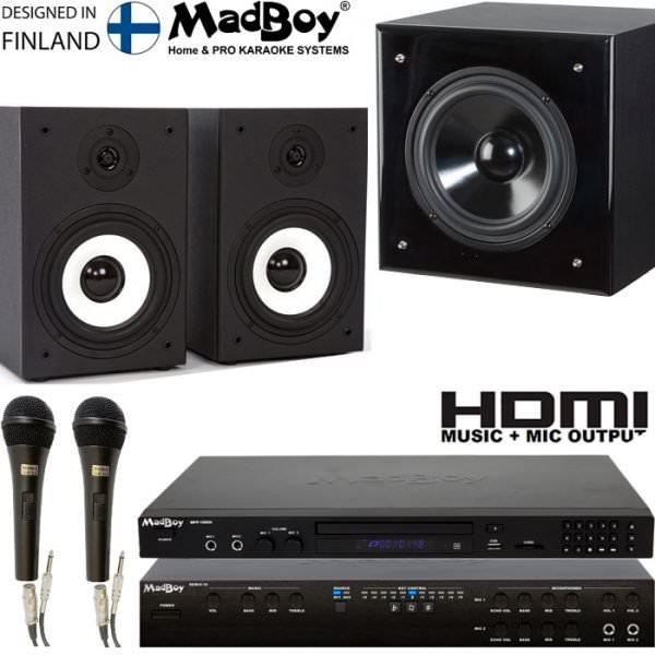 Madboy® PRESENT SOUND S комплект для караоке для помещения 20м2 + 5 масок знаменитостей