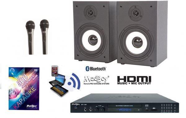 Madboy® Домашний c Bluetooth комплект для караоке (для помещения 20м2)+ 5 масок знаменитостей