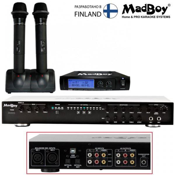 Madboy REMIX-33 комплект караоке онлайн + 2 беспроводных микрофона U-TUBE 20R