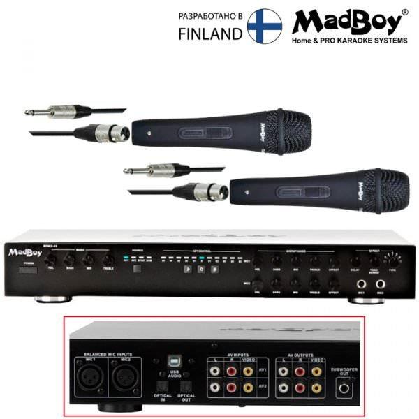 Комплект караоке онлайн Madboy® REMIX-33 + 2 проводных микрофона