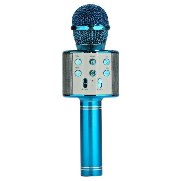 Беспроводной микрофон WS-858 (цвет синий) с функцией караоке